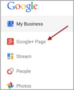 Google+ Page Menu option