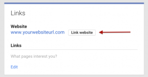 Google Plus linking website box