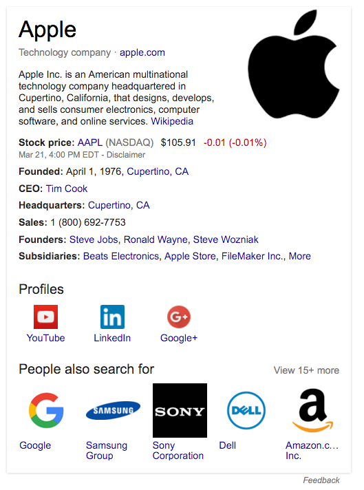 Apple Knowledge Graph card